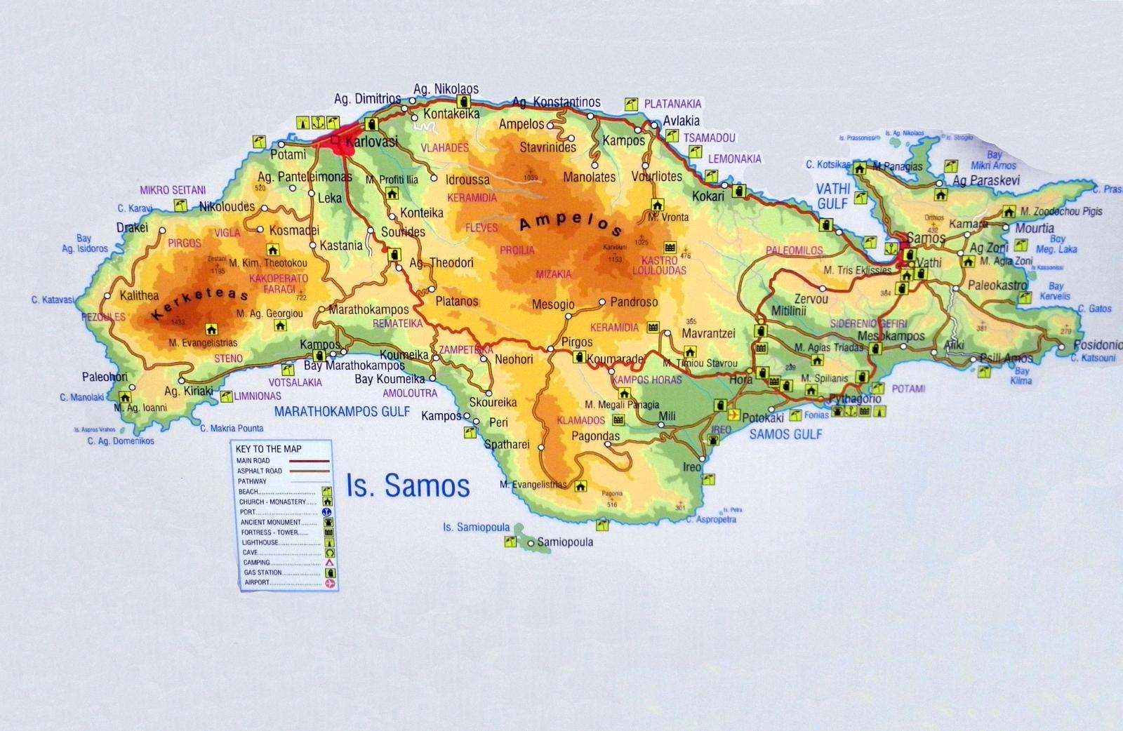 Rhodos Karte.Rhodos Karte Sehenswürdigkeiten